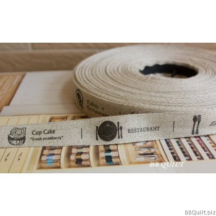 Zakka Cotton Tape Sewing Label - Cafe Restaurant 22mm