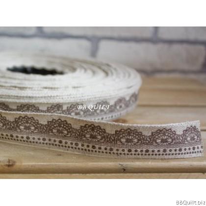Zakka Cotton Tape Sewing Label - Lace Pattern 22mm
