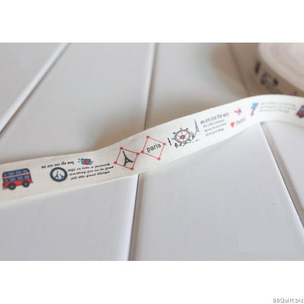 Zakka Cotton Tape Sewing Label - Paris Bus Tour 20mm