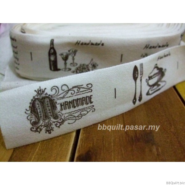 Zakka Cotton Tape Sewing Label - Europa Vintage Themed A 25mm