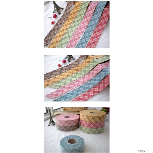 Tartan Plaid Yarn Dyed Bias Tape Binding Tape 6 Colours