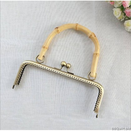 20cm Bamboo Handle Purse Frame Square Purse Frame Kisslock Frame