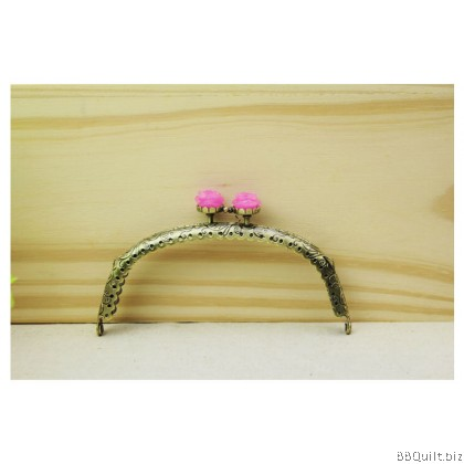 12.5cm Rose Closure Curved Round Purse Frame Antique Bronze