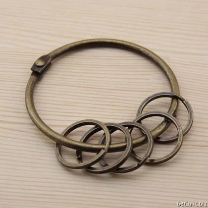 Antique Brass Retro Big Ring Key Holder 1+5