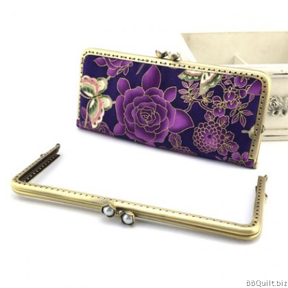 20.5*9cm Antique Brass|Rectangular Purse Frame|Lotus Flower Closure
