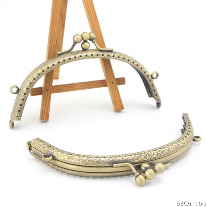Antique Bronze Curve Round Twin Purse Frame 14cm