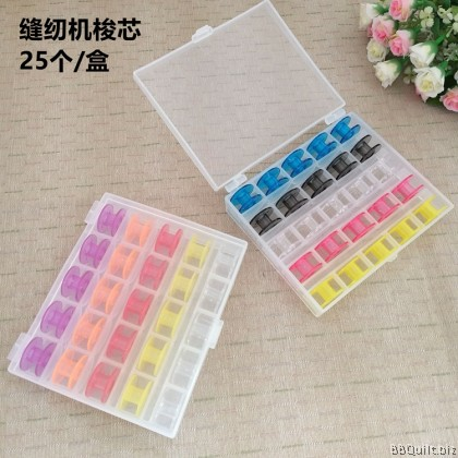 25pcs/box Colorful Empty Bobbins in Box for Sewing Machine